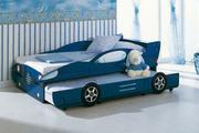 Dětská postel modré auto
